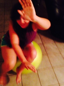 Halla begins the quest for Exercise Ball Domination